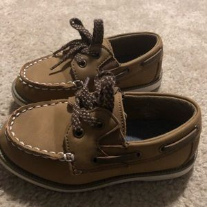 Brown Toddler Boys Boat Dress shoes Size 8